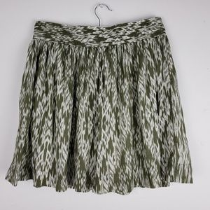 Banana Republic Green & White Fit & Flair Skirt